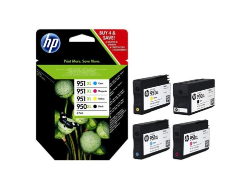HP 950-951 XL Four Pack- Black & Color Inkjet Ink Set
